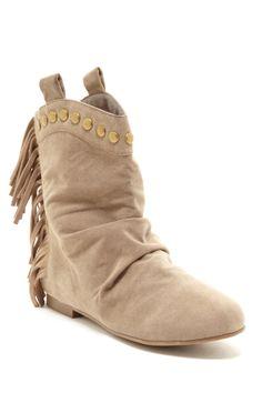 suedge fringe boots
