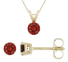 PARIKHS Round Cut Red Diamond Solitaire Pendant and Diamond Stud Set AAA Quality in Yellow Gold (0.20 ctw) * More info could be found at the image url. (This is an affiliate link and I receive a commission for the sales)