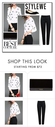 """""""Stylewe: Cardigan"""" by athena637 ❤ liked on Polyvore featuring Balmain, Chloé, Jimmy Choo and stylewe"""