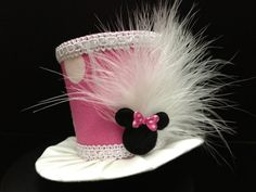 Adorable Pink Minnie Mouse Mini Top Hat for Birthday, Tea Party or Photo Prop.