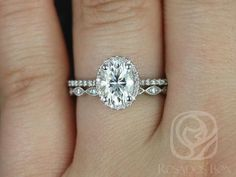 Rebecca 8x6mm & Ultra Petite Leah 14kt White Gold Oval FB Moissanite and Diamond Halo Wedding Set (Other metals and stones available)
