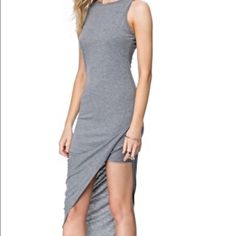 Hot to trot! Side ruche heather gray dress! New! Soft t shirt material in a classic cut with a cool twist! A must have! Dresses