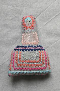 Handmade fabric embroidered doll ESZTERDA