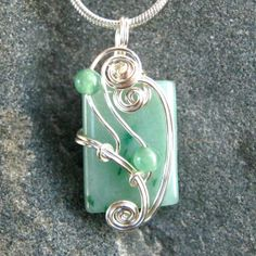Green Jade Wire Wrapped Pendant Necklace in Silver by CareMoreCreations.com, $29.00