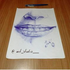 Natural smile created with biro pen