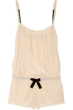 AUBIN & WILLS Hurstdene polka-dot silk pajama playsuit $170 printed with vintage inspired polka dots