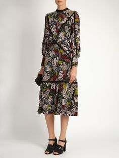 Orianna Dietrich Garden-print silk-crepe dress | Erdem   Erdem looks to the timelessly feminine silhouettes of the 1940s for AW16. This colourful silk-crepe Orianna dress is detailed with a glorious Dietrich Garden print that's inspired by retro interiors, and has a elegant high-neck shape that's enhanced by beautiful pleated floral-lace trims and contouring panels. The midi length works perfectly with the label's retro-influenced shoes.