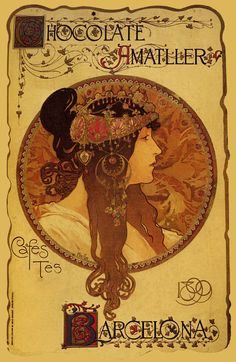 Mucha Chocolate Amatller 1899 Cafe Coffee Barcelona Spain by Alphonse Mucha Vintage Poster Repro Free S/H in USA