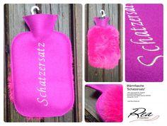 Bettgeflüster 'Schatzersatz' -- 100% Schurwolle Filz magenta 210 -  GummiWärmflasche pink -  Kaninchen pink gefärbt bayrisch glücklich -  Grösse 26 x 16 cm