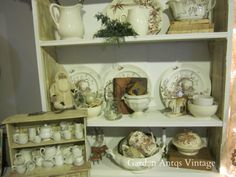 Ironstone and Transferware in the kitchen cabinet at Ann Perry's home (The Tin Rabbit)(pinned from Garden Antqs. Vintage)