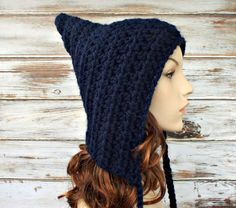 Crocheted Hat Womens Hat  Crocheted Pixie Hat in Navy by pixiebell