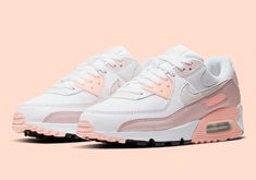 """Air Max Day is this Thursday and so it's only natural that Nike is dropping heat after heat, and the Nike Air Max 90 """"Washed Coral"""" is no exception. Cute Nike Shoes, Cute Nikes, Nike Air Shoes, New Sneakers, Air Max Sneakers, Sneakers Fashion, Nike Air Max 90s, Zapatillas Nike Air, Zoom Iphone"""