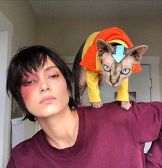 Our halloween costume this year. Me as Zuko, my cat Cashew as Aang 🖤