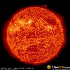 The hourly sun (at 12:45 pm  UTC on  6 February 2013)