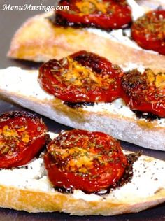 Thyme-Roasted Tomato and Goat Cheese Crostini - such a simple appetizer for a dinner party!  Roasting the tomatoes gives them a completely different textural and flavor profile. Step-by-step photos.