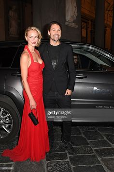 David Garrett (R) and guest arrive at the Celebrity Fight Night Gala dinner on board of Jeep Cherokee September 11, 2016 in Florence, Italy.
