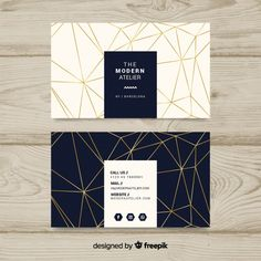 Free Modern business card template with geometric shapes SVG DXF EPS PNG - Price Vectors, Photos and PSD files Business Cards Layout, Modern Business Cards, Professional Business Cards, Business Card Design, Name Card Design, Calling Card Design, Graphic Design Branding, Stationery Design, Corporate Design