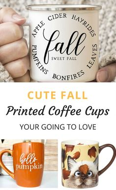 Fall brings with it a chill in the air. Time to add warm beverages. And what cuter way to to welcome a warm cup of coffee than cute Fall Printed Coffee Cups. Printed Coffee Cups, Cute Coffee Cups, Coffee Mugs, Coffee Coffee, Coffee Time, Fall Projects, Vinyl Projects, Halloween Mug, Diy Mugs