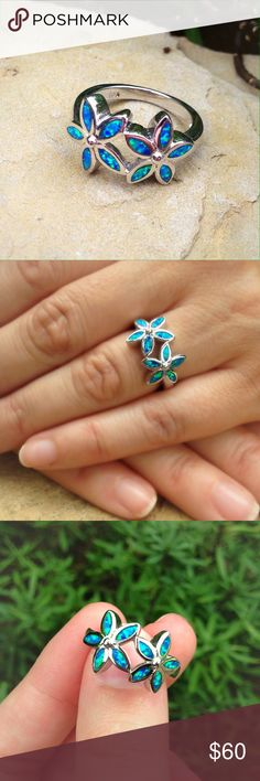 Opal flower gypsy boho sterling silver ring Blue and green opal in a flower shaped sterling silver setting. Jewelry Rings