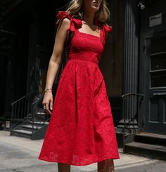 UNDER $100 Day 5: Red Eyelet Bow Dress