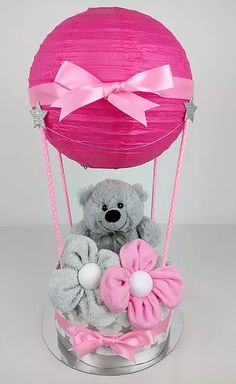 Hot Air Balloon Nappy Cake - Pink and Grey, Washcloth Flowers, Grey Stars, Nappy Cakes by Emma, Australia, Brisbane, Diaper Cake