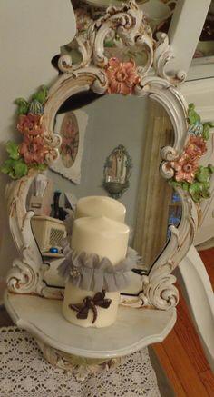 Shabby chic romantic wall shelf mirror by shabbyhome on Etsy