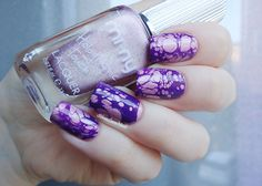 Holo pink and purple water spotted - SilviaLaceNails