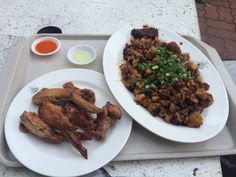 Chicken wings and 'Carrot Cake' (rice dumpling and egg)