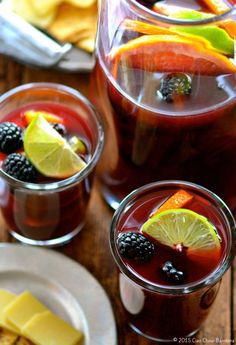 winter sangria w blackberry, pink grapefruit & lime Sangria Cocktail, Cocktails, Red Sangria Recipes, Winter Sangria, Sweet Red Wines, Refreshing Summer Drinks, Freshly Squeezed Orange Juice, Family Fresh Meals, Wine Drinks