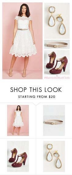 """""""Exquisite Elegance Dress in White"""" by modcloth ❤ liked on Polyvore"""