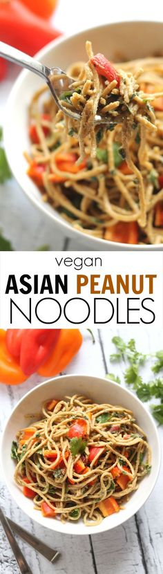 Vegan Asian Peanut Noodles---a delicious, comforting main meal that's quick and easy to whip up!