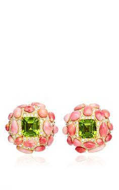 Peridot, conch pearl and diamond ear clips by NICHOLAS VARNEY Preorder Now on Moda Operandi