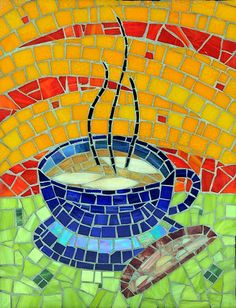 Morning Coffee, by Kathy Manzella, NC Mosaic Tile Art, Mosaic Crafts, Mosaic Projects, Stone Mosaic, Mosaic Glass, Stained Glass, Glass Art, Art Projects, Mosaic Designs
