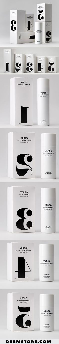 I love the simplicity and reversed numbers packaging on the aptly named Verso sk. 👈💪🙏 I love the simplicity and reversed numbers packaging on the aptly named Verso skincare from Sweden. Branding And Packaging, Skincare Packaging, Beauty Packaging, Cosmetic Packaging, Branding Design, Logo Design, Design Packaging, Packaging Boxes, Graphic Design