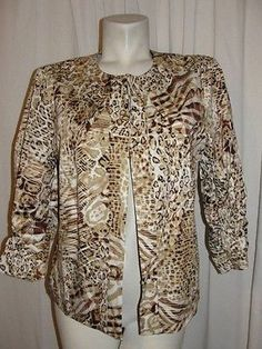 Chicos-12-14-Brown-White-Beige-Printed-Stretch-Ruched-3-4-Sleeve-Jacket-Size-2-L