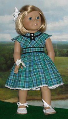 Blue Plaid Summer Dress for 18 inch Dolls by SugarloafDollClothes