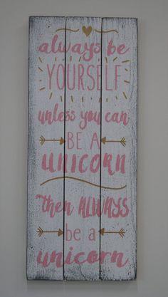 Wood Sign Girls Nursery Decor Unicorn Nursery Pink And Gold Nursery Shabby Chic Nursery Pallet Sign Baby Shower Gift Vintage Nursery