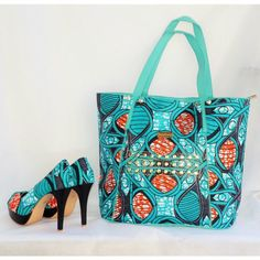 Blue African Print Shoes And Bag Set ,African Fabric Purse And Shoes Set…