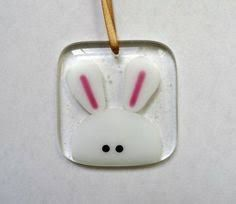 Easter bunny decoration, fused glass rabbit light catcher, Easter gift for her, handmade stained gla Fused Glass Ornaments, Fused Glass Jewelry, Fused Glass Art, Glass Pendants, Dichroic Glass, Glitter Ornaments, Handmade Ornaments, Twig Tree, Glass Fusing Projects