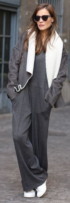 I'm pretty sure I would never take this off!!  Grey Loose Jumpsuit by LadyAddict
