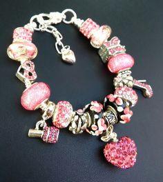 European Charm Bracelet, Pink, Crystal Heart, October