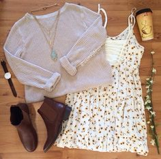 Flower Dress with Knitted Sweater Combined with Chelsea Boots | Summer Outfit Style