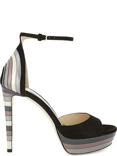 JIMMY CHOO Max 120 leather and suede heeled sandals