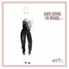 """ #thegrammys looks everyone is talking about! #gwenstefani in @versaceofficial   #fashion #fashcom #illustration #fashioncomic #comic #dress #shoes #heels…"""