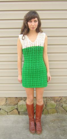 crochet dress, green and white, vintage style, go go dancer mod style, shell stitch, size small or xs