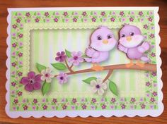Spring Flowers Birdie Birthday on Craftsuprint designed by Anne Lever - made by Johanna  Lambert - I printed the sheet onto white card and cut out the images. I mounted onto my card base using DST. I then added the decoupage with foam pads and finished by adding purple gems. - Now available for download!