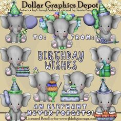 images of banana split clip art | Baby Elephant - Birthday Boys - Clip Art