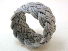 Knots and fiber bracelets: grey paracord turks head knot bracelet 2470