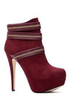 Burgundy Zip it Up Platform Booties @ Cicihot. Booties spell style, so if you want to show what you're made of, pick up a pair. Have fun experimenting with all we have to offer!