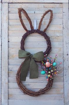 Easter Wreath - Spring Wreath - Bunny Wreath - Spring Wreath for Front Door - Spring Door Wreath - Easter Decoration - Easter Door Decor Available at SimplebyBrooke. Easter Wreaths, Christmas Wreaths, Christmas Crafts, Easter Holidays, Diy Wreath, Easter Crafts, Easter Bunny, Cotton Bolls, Denim Decor